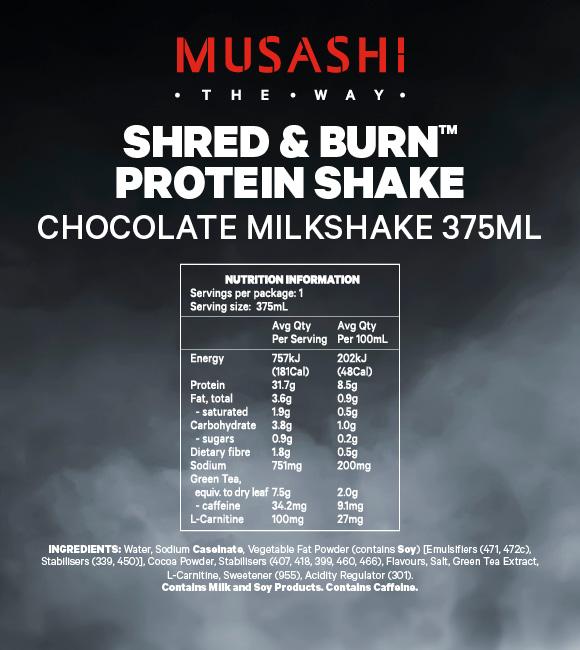 SHRED & BURN Shake 375ml (Box of 6 Drinks)